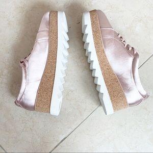 NWOT Aldo Pink Satin Platform Sneakers.